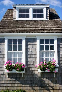 House Cottage Flower Window Boxes Cape Cod Nantucket Boston Massachusetts