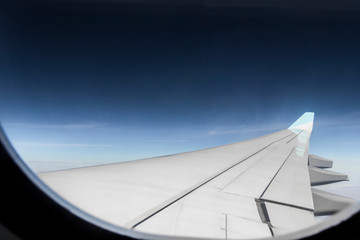 View from an airplane window at high altitude