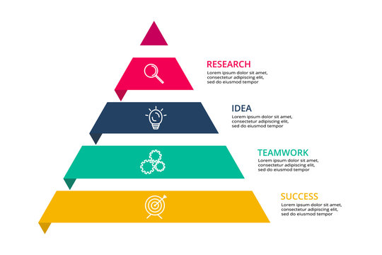 Vector pyramid up arrows infographic, diagram chart, triangle graph presentation. Business timeline concept with 4 options, parts, steps, processes. Icons and text data info graphic.