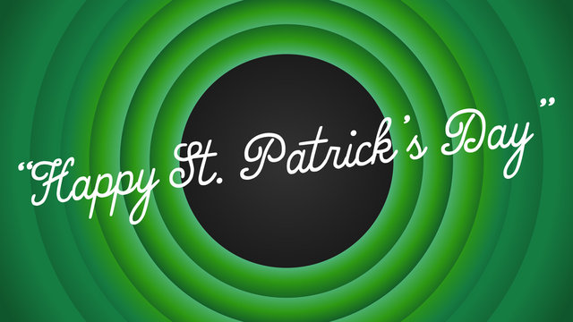 Happy St. Patrick's Day retro cartoon movie style background vector illustration.