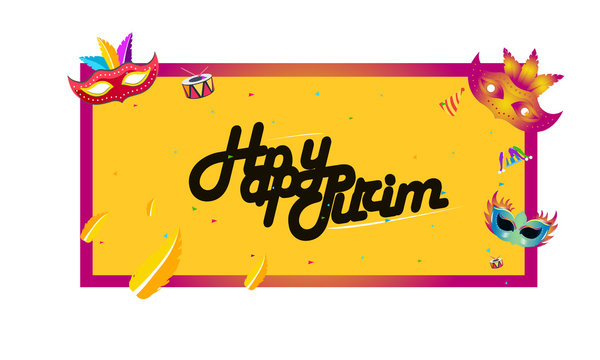 """Hand written lettering with text """"Happy Purim"""".Vector illustration of jewish holiday Purim. - Vector"""