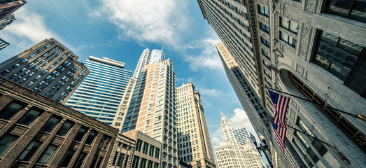 View of Chicago skyscrapers with sky