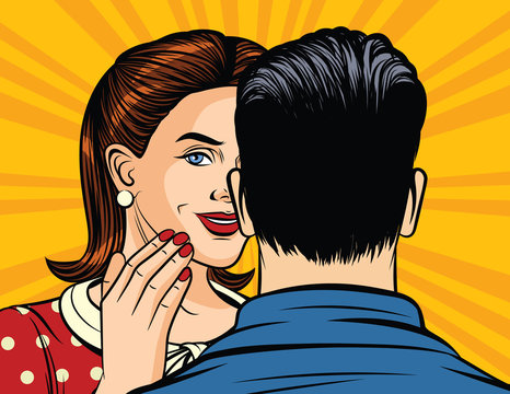 Color vector illustration of pop art style girl whispering a secret to a man's ear. The girl tells the information in confidence. A man and a woman are talking. Girl holds hand at mouth