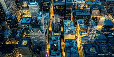 Aerial view of Chicago downtown by night