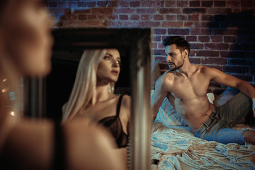 Poster Artist KB Sensual couple relaxing in a modern, stylish apartment