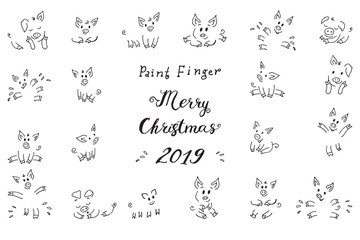 Zodiac Symbol of the New Year 2019 Piggy pink fun Fingerprint collection drawings of Piglets Greeting cards of the Christmas 2019 Lettering