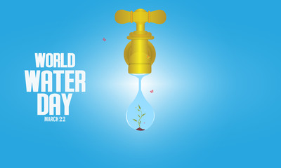 Vector illustration of water tap with the green leaves inside water drop on blue background - Vector