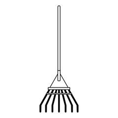 Rake garden tool isolated black and white