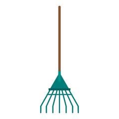 Rake garden tool isolated