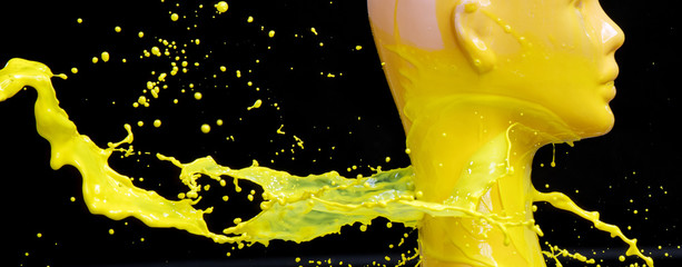 Printed kitchen splashbacks Artist KB Mannequin splashed with yellow paint
