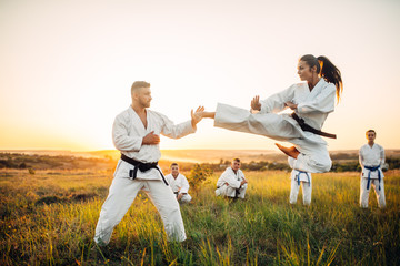 Female karate fighter trains kick in flight Wall mural