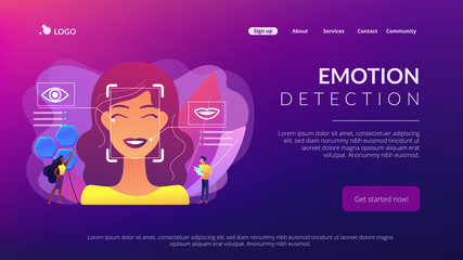 Emotion detection concept landing page.