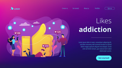 Likes addiction concept landing page.
