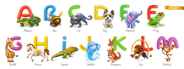 Zoo alphabet. Funny animals, 3d vector icons set. Letters A - M Part 1. Alligator, bee, cat, dog, elephant, frog, giraffe, horse, iguana, jellyfish, kangaroo, lion, monkey.