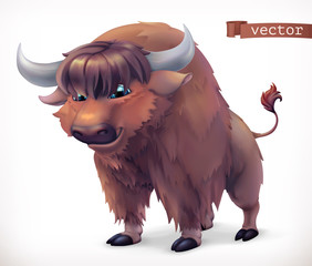Yak, buffalo cartoon character. Funny animal, 3d vector icon