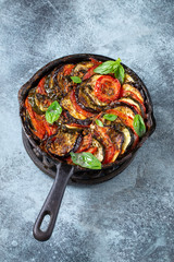 Homemade ratatouille in iron cast frying pan