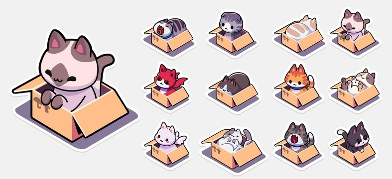 Cats in boxes sticker set for. Set of badges with cats sitting in cardboard boxes. Vector illustration