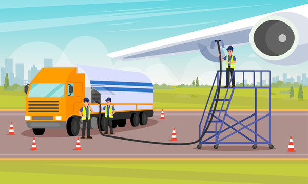 Airport Workers Pour Fuel into Aircrafts Tank.