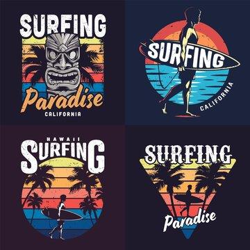 Vintage colorful surfing prints set