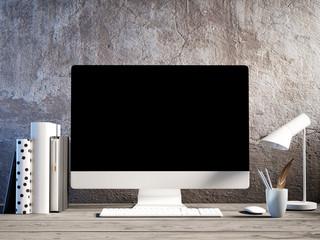 Mock up working space, desktop, vintage room, 3d render, 3d illustration
