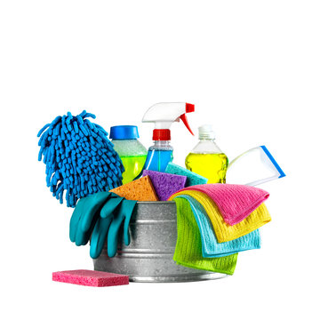 Bucket Of Cleaning Supplies On Isolated White Background - Cleaning Services Concept