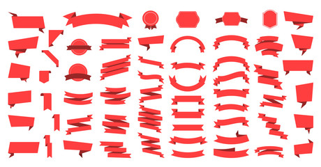 Flat vector ribbons banners flat isolated on white background, Illustration Set of ribbons. Ribbon vector.