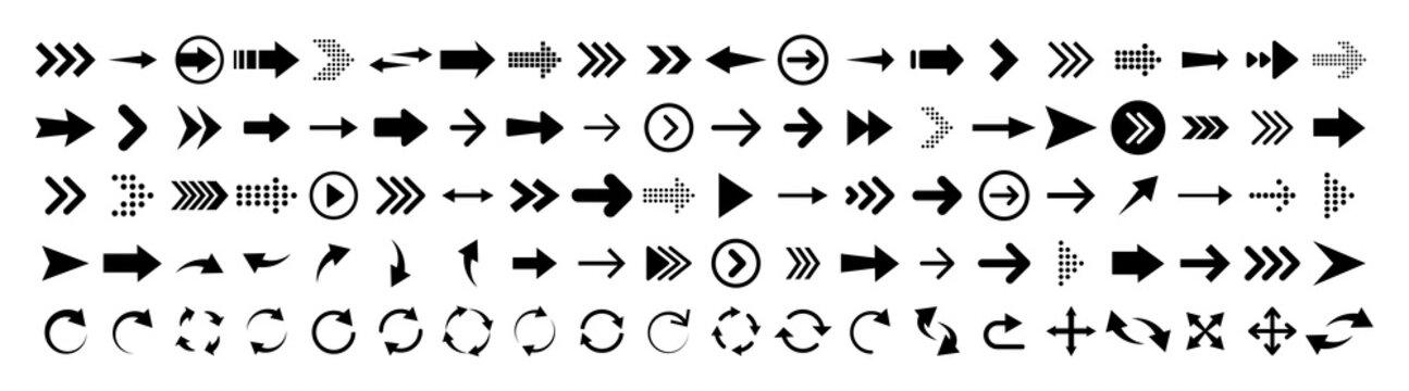 Arrows set of 100 black icons. Arrow icon. Arrow vector collection. Arrow. Cursor. Modern simple arrows. Vector illustration.