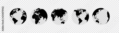 Wall mural Globes set collection. Vector illustration. On white background.