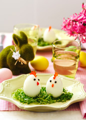 Funny chickens from eggs on the Easter table.