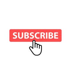 Wall Mural - Subscribe button icon. Vector illustration. Cursor. Video. Social Media.