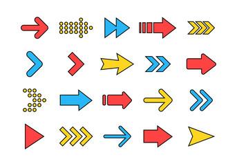 Wall Mural - Arrows big colored set icons. Arrow icon. Arrow vector collection. Arrow. Cursor. Modern simple arrows. Vector illustration.
