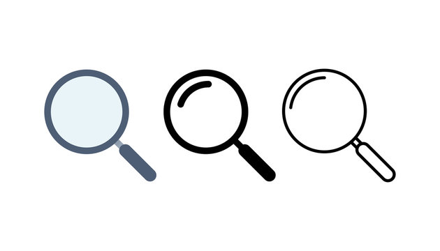 Magnifying glass and search icon set. Vector illustration.