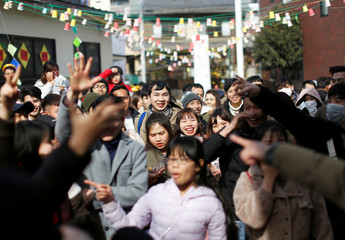 Vietnamese who live in Japan celebrate Vietnamese New Year at a Catholic Church in Kawaguchi, near Tokyo