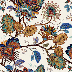 Foto op Aluminium Botanisch Vintage seamless pattern. Flowers background in provence style. Stylized climbing flowers. Decorative ornament backdrop for fabric, textile, wrapping paper, card, invitation, wallpaper, web