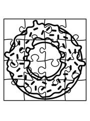 puzzle donut essen lecker hunger süßigkeit gebäck ring rund teil puzzlespiel puzzleteil puzzlestück puzzeln form logo spaß bild design cool umriss hobby