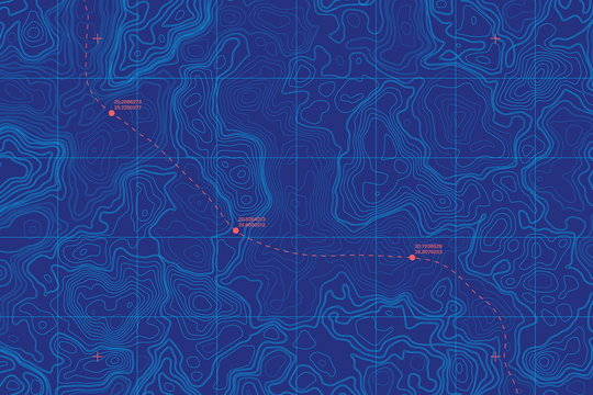 Sea Depth Topographic Map With Route And Coordinates Conceptual User Interface Blue Abstract Background. Bermuda Triangle. Topographic Cartography. Topographic Map. Topographic Atlas
