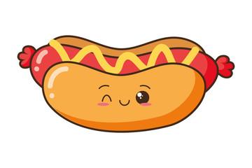 kawaii cartoon hot dog