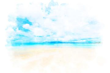 沖縄の海 Okinawa, japan. Illustration of watercolor painting style.