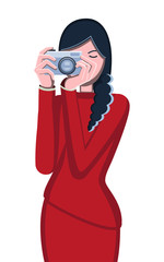 Photographer. Woman and camera. Avatar girls. Portrait of a professional. Vector flat illustration. White background. Brunette girl