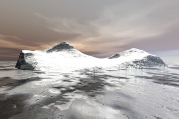 Snowy island, a polar landscape, frozen water in the sea and clouds in the sky.