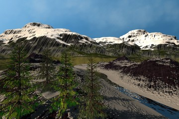 Mountain, a snowy landscape, coniferous trees, a beautiful river and a blue sky.