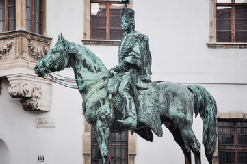 Permanent public statue of Mounted Andras Hadik, found on the corner of Szentharomsag and Uri street, Budapest. Erected in 1937. According to folklore, you rub certain parts of the horse forluck.