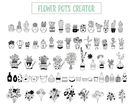 Flowers and pots