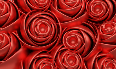 3D illustration of red roses bouquet