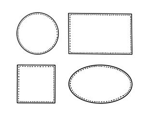 Simple inky hand drawn isolated vector outline picture frame element collection