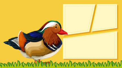 A duck on blank note