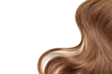 Natural brown hair isolated on white. Background Wall mural