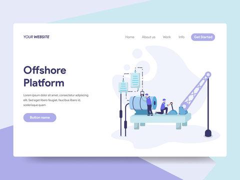 Landing page template of Offshore Platform Illustration Concept. Isometric flat design concept of web page design for website and mobile website.Vector illustration