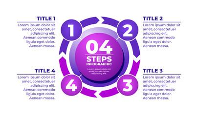 Infographic purple template 4 steps. Vector illustration.