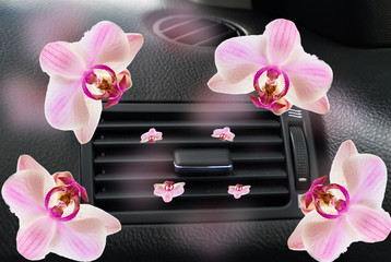 car air conductor flowers orchid fragrance freschener  aircondition